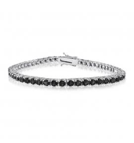 Simulated Diamond Tennis Bracelet Round Cut Black CZ Rhodium Plated Brass 7.25 inch