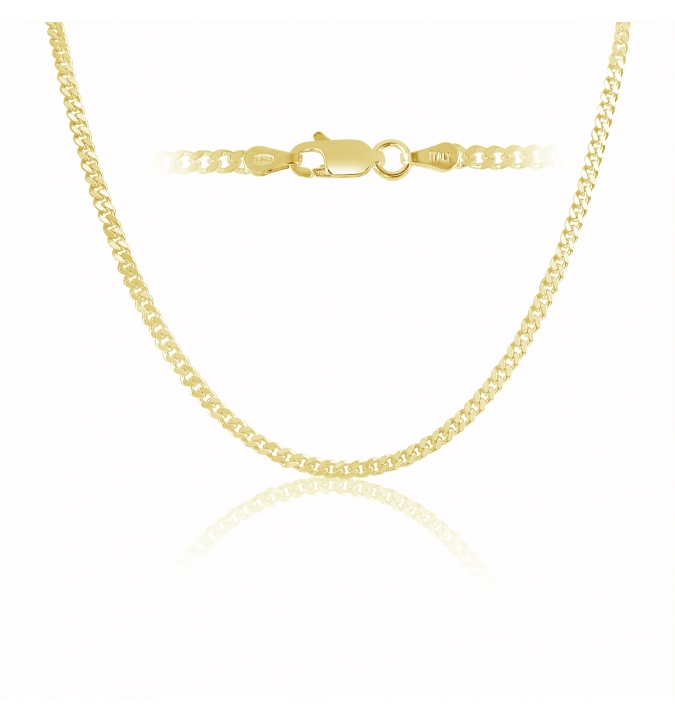 Sterling Silver Curb Chain 3mm - Gold Plated