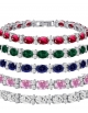 CZ Tennis Bracelet - Oval 7x5 & Round 2.50mm CZ - Silver over Brass - 7 Inch