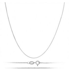 Sterling Silver Box Chain 0.85mm - Rhodium Plated