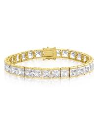Cubic Zirconia Tennis Bracelet Gold Plated 6x6mm Square White CZ