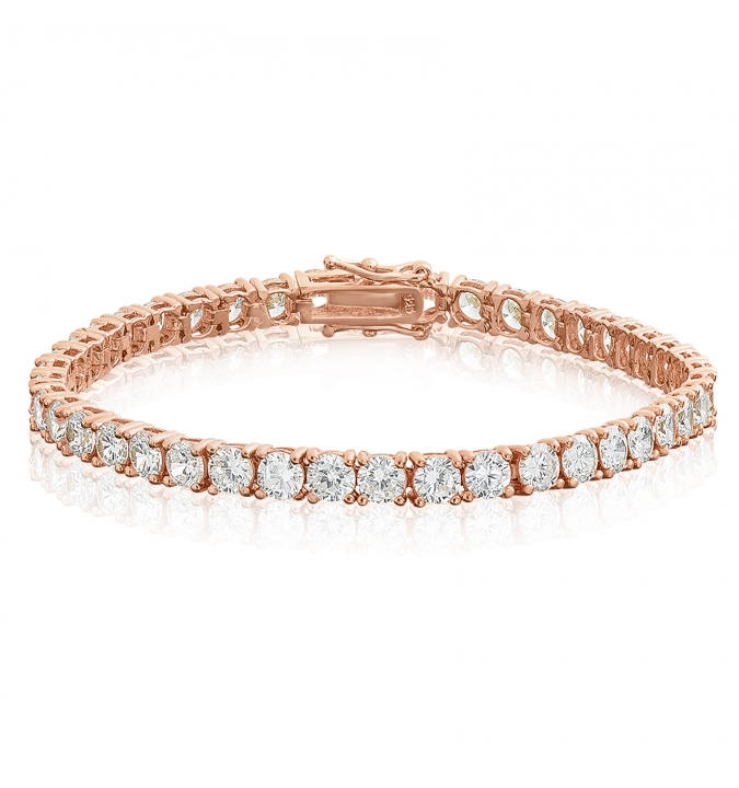 Cubic Zirconia Tennis Bracelet Rose Gold Plated Silver 4x4mm Round White CZ
