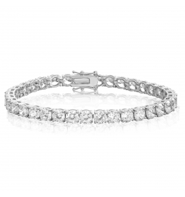 Cubic Zirconia Tennis Bracelet Rhodium Plated 5x5mm Round White CZ