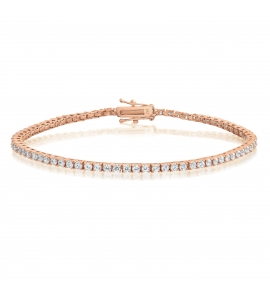 Cubic Zirconia Tennis Bracelet Rose Gold Plated Silver 2x2mm Round White CZ