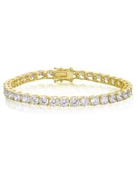 Cubic Zirconia Tennis Bracelet Gold Plated 5x5mm Round White CZ