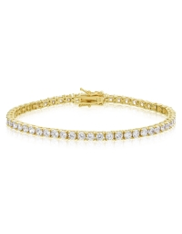 Cubic Zirconia Tennis Bracelet Gold Plated Silver 3x3mm Round White CZ