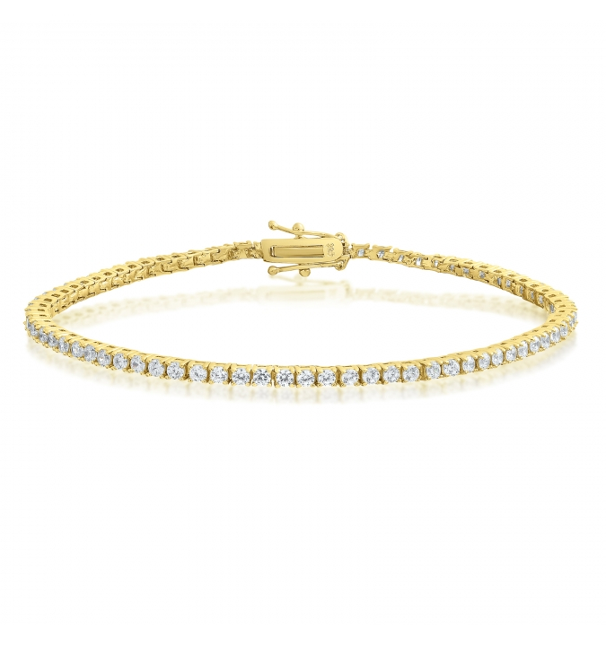 Cubic Zirconia Tennis Bracelet Gold Plated Silver 2x2mm Round White CZ