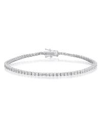 Cubic Zirconia Tennis Bracelet Rhodium Plated Silver 2x2mm Round White CZ