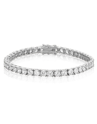 Cubic Zirconia Tennis Bracelet Rhodium Plated Silver 4x4mm Round White CZ